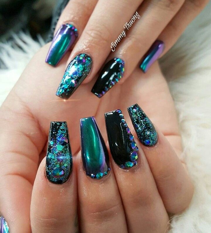 ♚❁Pinterest: Joniwhite219 ♚. Black Chrome NailsAcrylic Nails ChromeTurquoise  ... - 25+ Unique Teal Nail Designs Ideas On Pinterest Pretty Nail