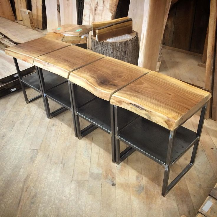 Wonderful Live Edge Tables Made Into One Long Table