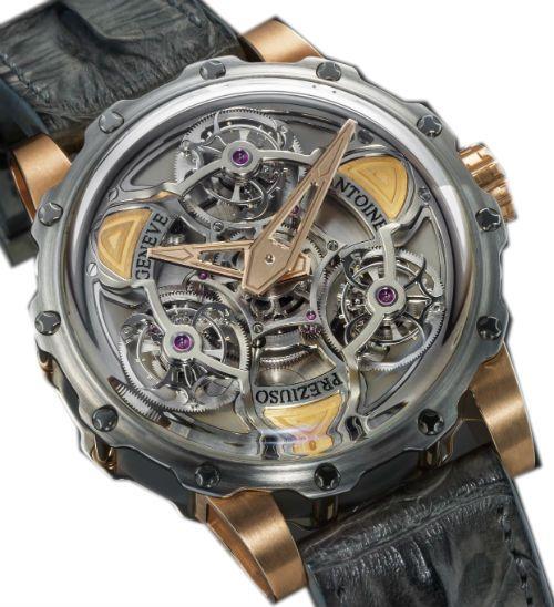 rose gold  titanium - Antoine Preziuso - Tourbillon of Tourbillons - швейцарские мужские наручные часы - стальные +золотые, +титановые - черные - турбийон, скелетон