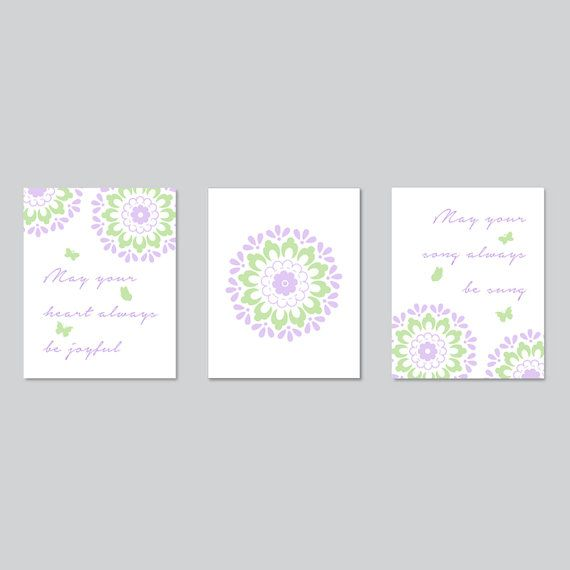 Baby Room Decor, nursery quote, purple green flower decor, dahlia wall art for baby girl bedroom or bathroom, baby shower gift