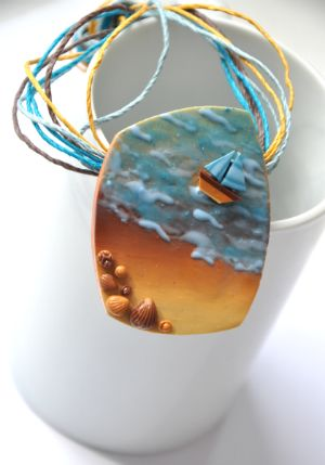 Found on polymerclayfimo.livejournal.com Beautifully composed sailboat, ocean, and beach. Love the colors