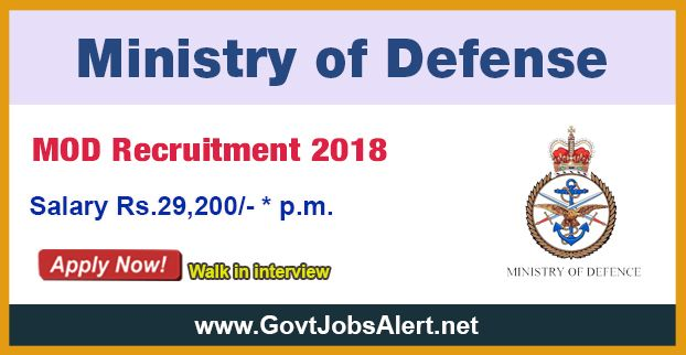 MOD Recruitment 2018 - Hiring 125 Post Material Assistant, Lower Division Clerks, Fireman and Tradesman Mate Posts, Salary Rs.29,200/- : Apply Now !!!  The Ministry of Defence – MOD Recruitment 2018 has released an official employment notification inviting interested and eligible candidates to apply for the positions of Material Assistant, Lower Division Clerks, Fireman and Tradesman Mate. The eligible candidates may apply to the posts in the prescribed format available i