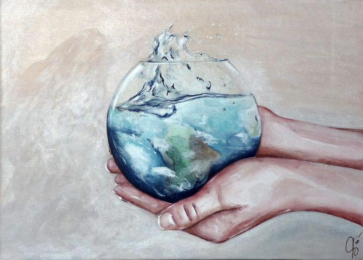 Fragile  Cosa rappresenta… La fragilità delnostro mondo. L'idea che le mani di dio potessero tenere in equilibrio la terra, mi piaceva. Un piccolo gesto ed ecco vacillare quel fragile equilibrio.     © arte ViolaV . Tutti … Continued