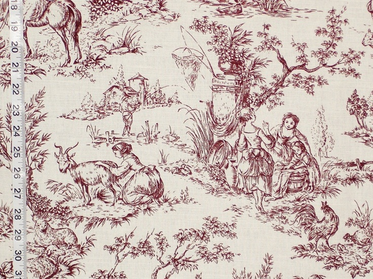Purple brown toile fabric french country destash 2 yards for French toile fabric