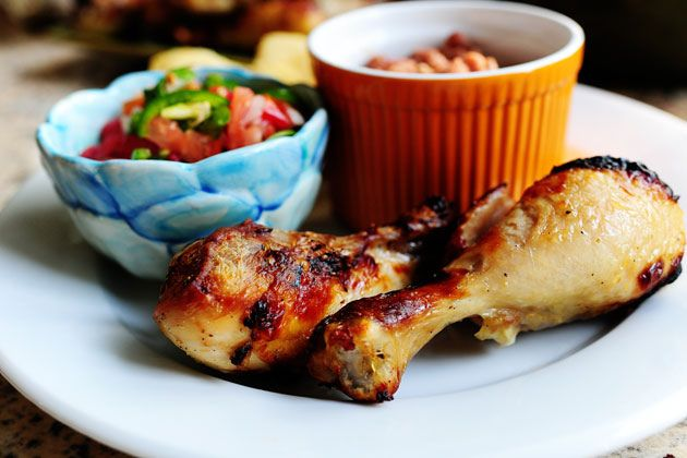 Pollo Asado by Ree Drummond / The Pioneer Woman~T~ I love the marinade for this chicken. She does it in the broiler, but I grill it. Also included a recipe for Pico de Gallo and Beans.