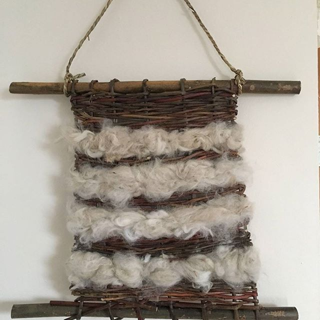 By special request from youngest daughter @ninarevera  copy of Maggie Shaw's Wool and Willow wall hanging ... #wool #willow #weave #wallhanging