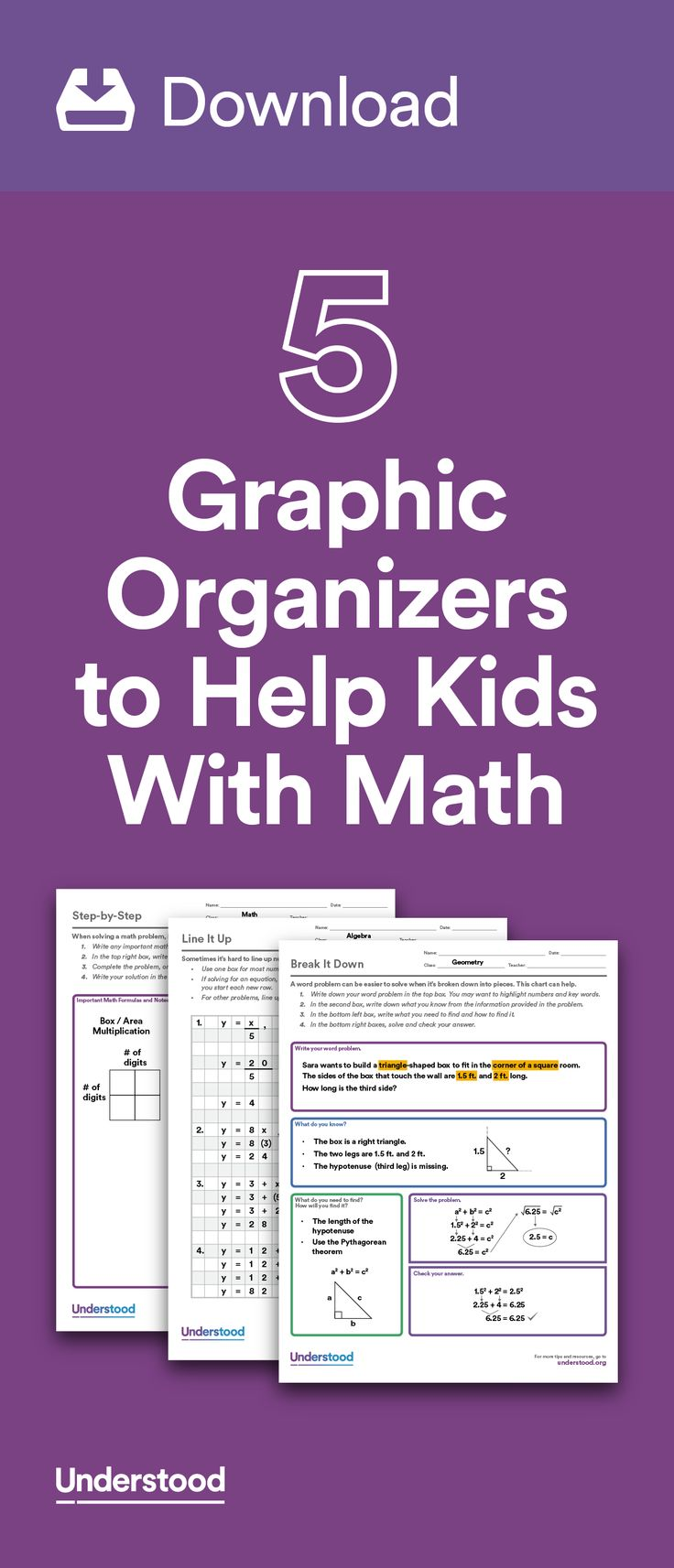 If your child has trouble with math because of dyscalculia or other learning and attention issues, graphic organizers can help. Graphic organizers allow kids to break down math problems into sequential steps. They're great tools for figuring out what's being asked in a word problem, which operation to use or how to organize answers.