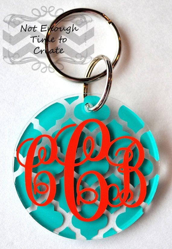 Custom Acrylic Monogram Keychains $6…thinking about getting some of these to p