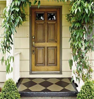 door stain and trim, vine: Paintings Concrete, Ideas, Paintings Porches, Concrete Front Porch, Front Doors, Concrete Porches, Curb Appeal, Front Porches, Front Step