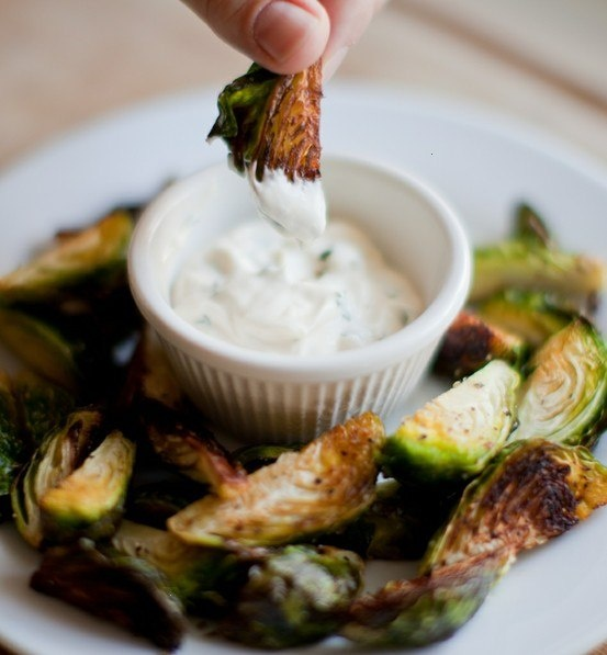 Roasted brussel sprouts with garlic aioli.