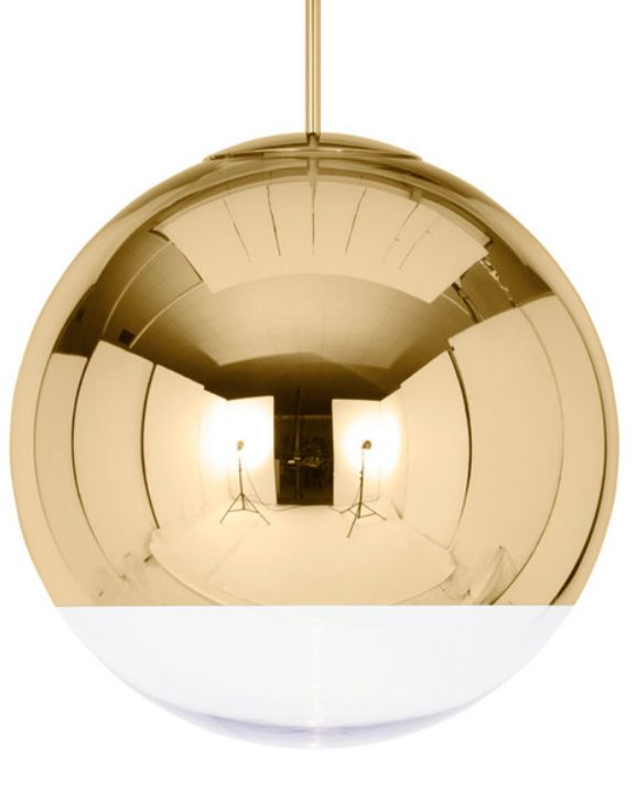 The Tom Dixon Mirror Ball Pendant Light Gold was originally inspired by space helmets and disco balls and is now available in gold.