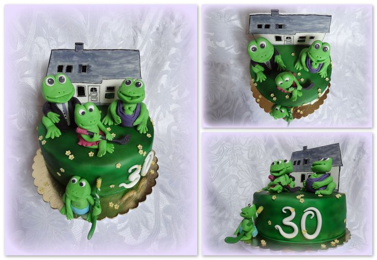 Frog family with house cake