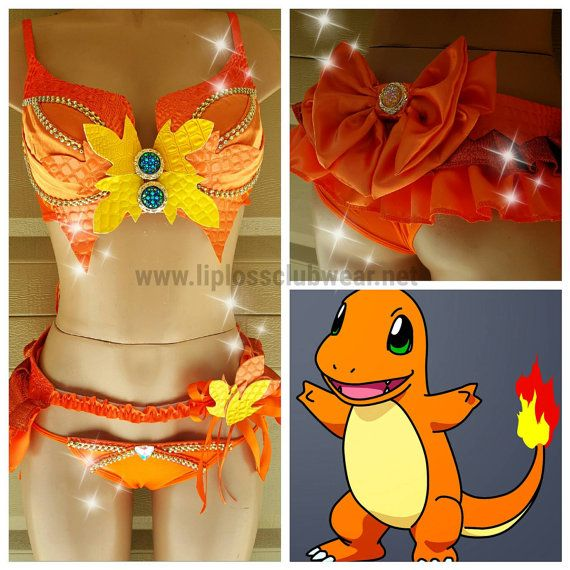 Ready To Ship Pokemon Charmander Costume  Top Size by LipglossWear