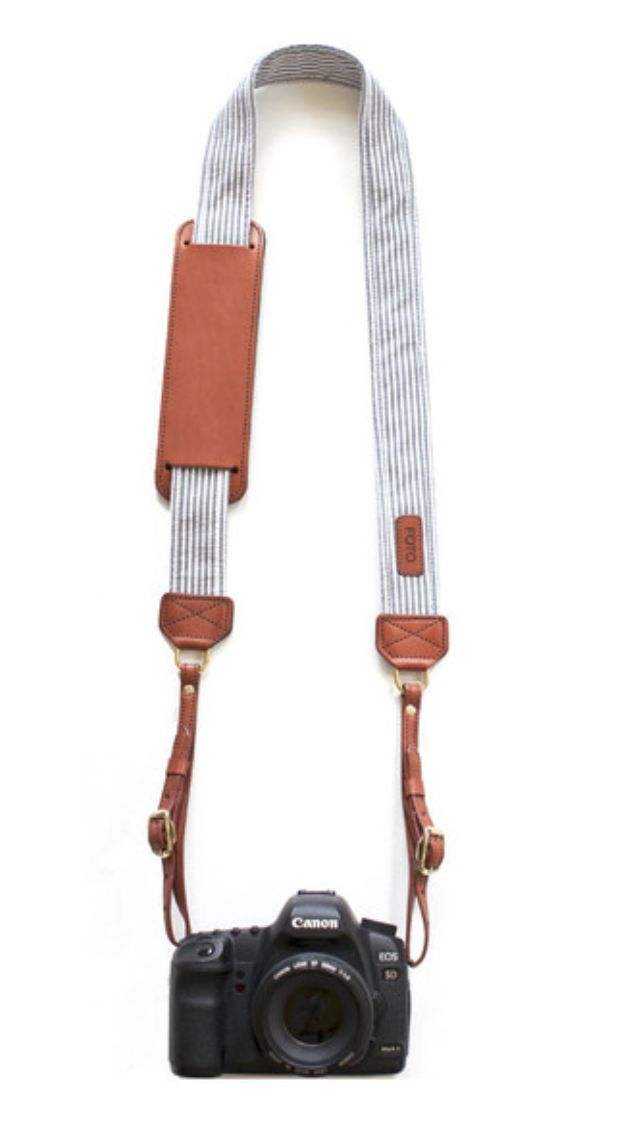Grey stripes camera strap