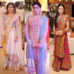 "HELLO! Pakistan on Instagram: ""How dreamy are these three distinct #summerwedding looks from this season? Let us know which ones your favorite! #hellopakistan #weddingstyle #lehngacholi #pastels #pakfashion #mehndi #shahdi #stylequeens"""