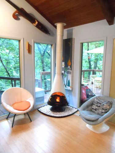 RETRO-Mid-Century-Modern-WHITE-JUPITER-Electric-Preway-Cone-Fireplace-Malm