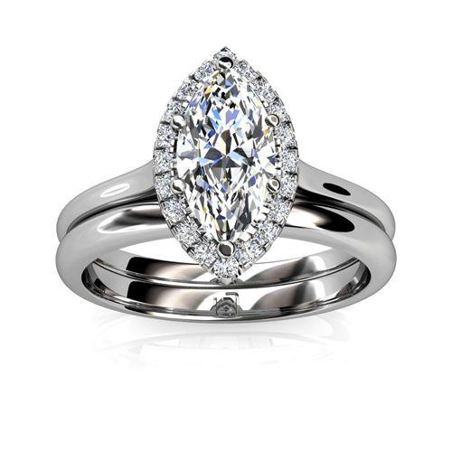 Marquise Diamond Halo Wedding Set