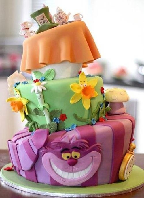 Cute Wonderland Cake, includes flowers in the golden afternoon, cheshire cat, and the tea party!