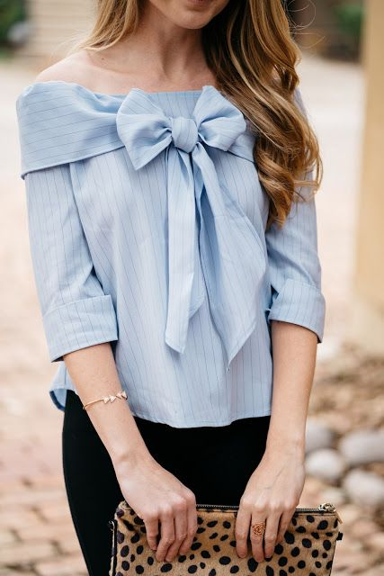 The Polished Posy - Powder Blue Off the Shoulder Bow Top / Spring Style