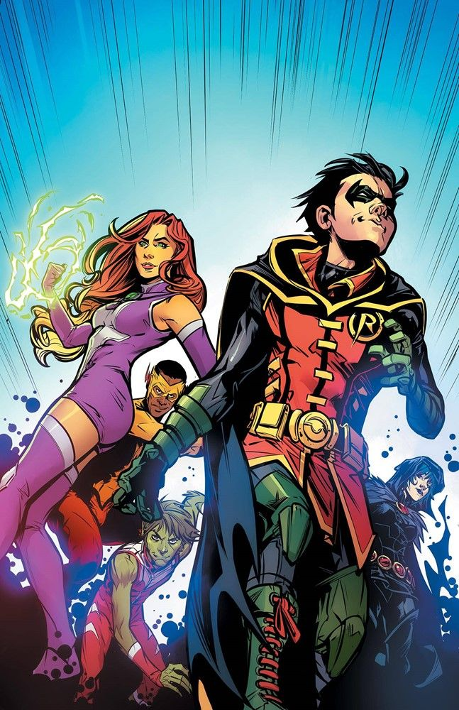 Teen Titans. Robin. Starfire. Raven. Beast Boy. Kid Flash.