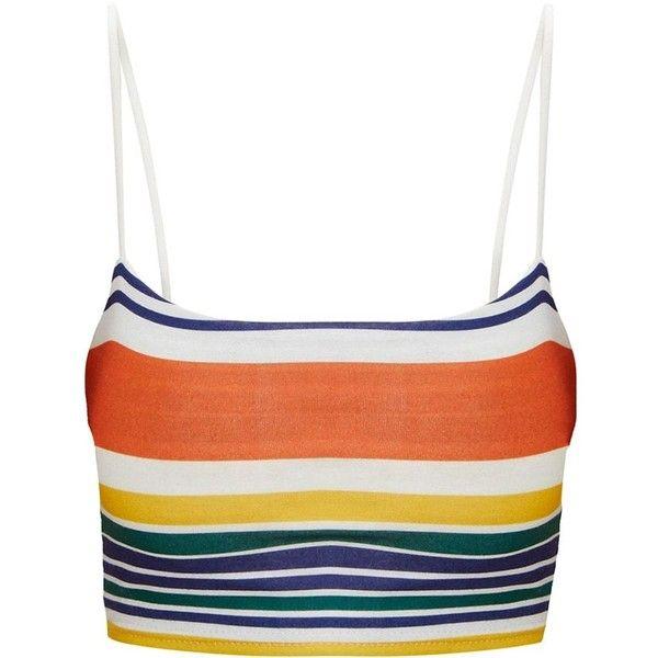 Orange Stripe Strappy Crop Top ($15) ❤ liked on Polyvore featuring tops, orange top, strap crop top, stripe top, strappy crop top and white striped top