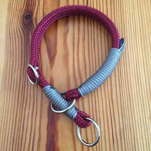 Zugstopp-Halsband in Bordeaux mit Grau