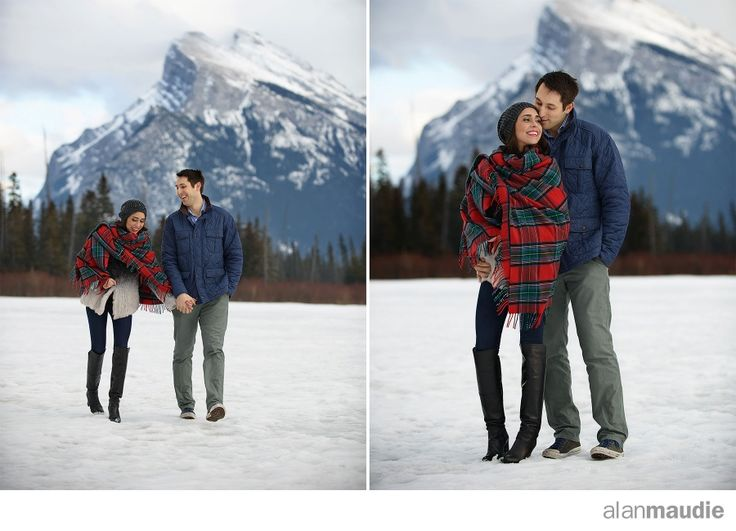 Banff Springs Hotel Wedding, Engagement Session, Banff Engagement Photography, ice, frozen, romantic, red, tartan, outdoors, Mt Rundle, Vermillion Lake, Canada, Canadian Destination