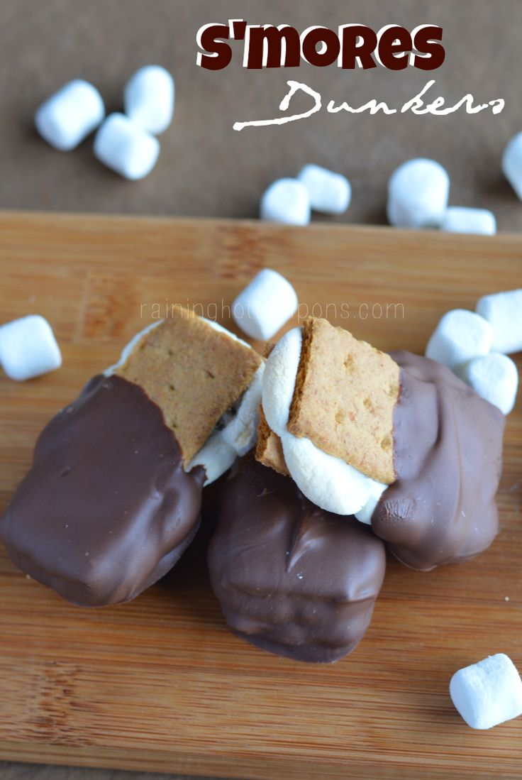 S'mores Dunkers - but wouldn't the gooey-ness of the marshmallow be lost when hardening the chocolate in the freezer?