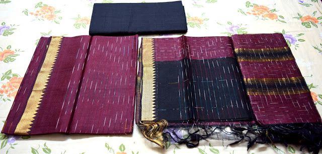 Indian Traditional Handloom Sarees: Dark Maroon And Black Combination Semi Pattu Manga...