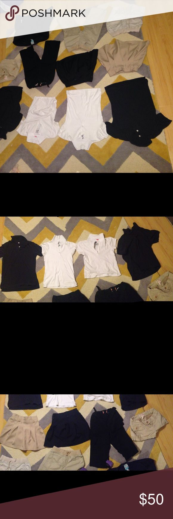 School uniform lot All pre-loved. Second picture ALL SHIRTS SIZE KIDS LARGE. Third picture: SKIRTS SIZE 7, PANTS SIZE 10, SHORTS SIZE 3(woman's). Fourth picture: SHORTS SIZE 8, PANTS SIZE 10, JACKET LARGE.                                        All items are kids sizes except for beige shorts in photo number 3. Old Navy Other