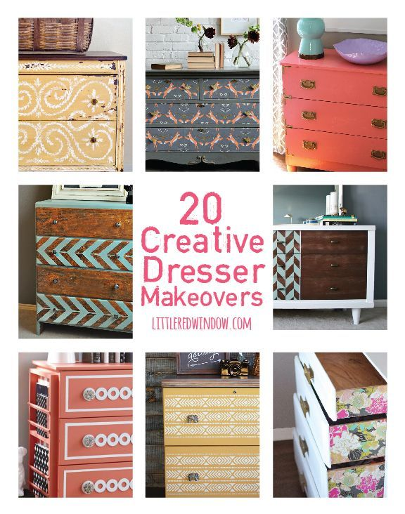20 Gorgeous and Creative Dresser Makeovers! Don't get rid of your old dresser, give it a facelift!