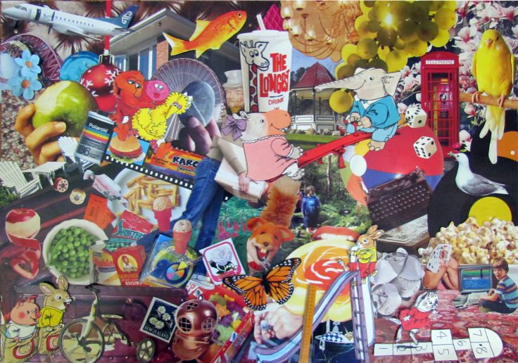 Collage of childhood memories made for my sister. Kare Grayson MFA.