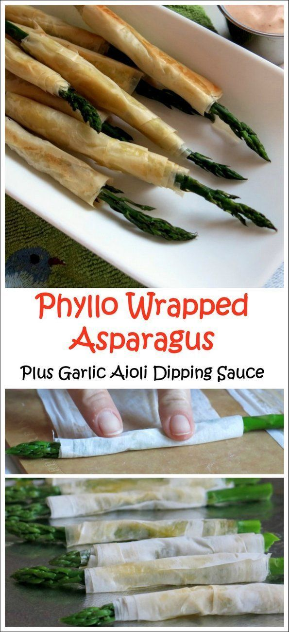 Phyllo Wrapped Asparagus with Garlic Aioli Dipping Sauce - this is such a fun appetizer!