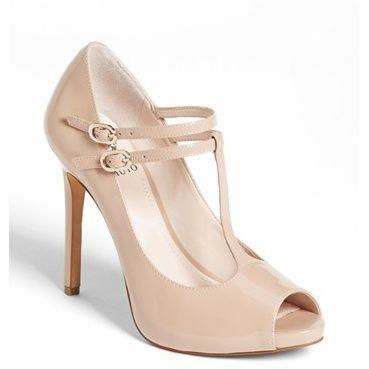 Vince Camuto Womens Carlii Peep Toe TStrap Classic Pumps Sandbar Size 9.0