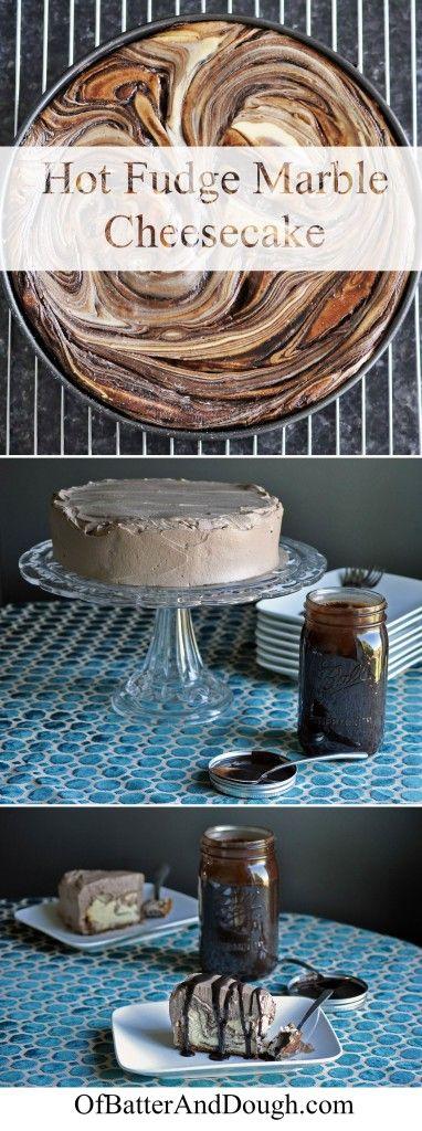 Marble Chocolate New York Style Cheesecake Recipe  With a Hot Fudge Swirl, Chocolate Whipped Cream & A Cinnamon Cookie Crust
