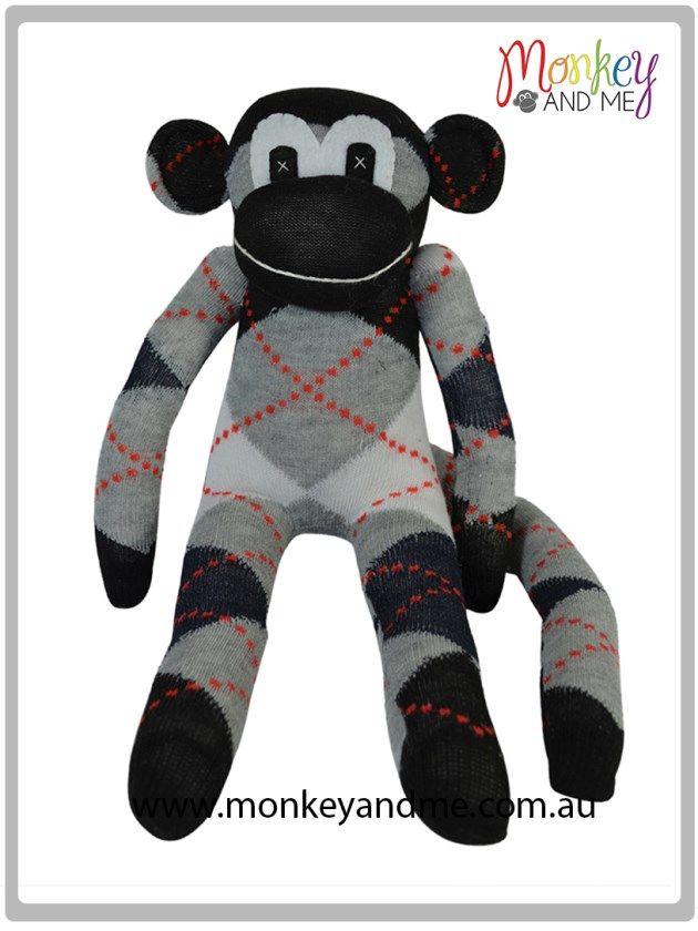 Black Grey argyle Sock Monkey  Adopt over at monkeyandme.com.au #sockmonkeys #gifts #toys