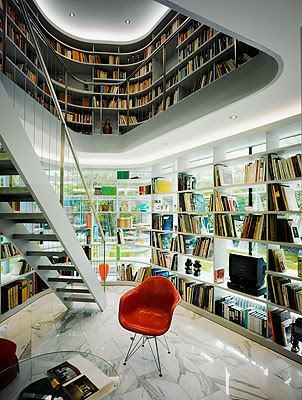 Me likey!: Spaces, Bookshelves, Dreams Libraries, Idea, Home Libraries, Window, Interiors Design, Personalized Libraries, Zurich Switzerland