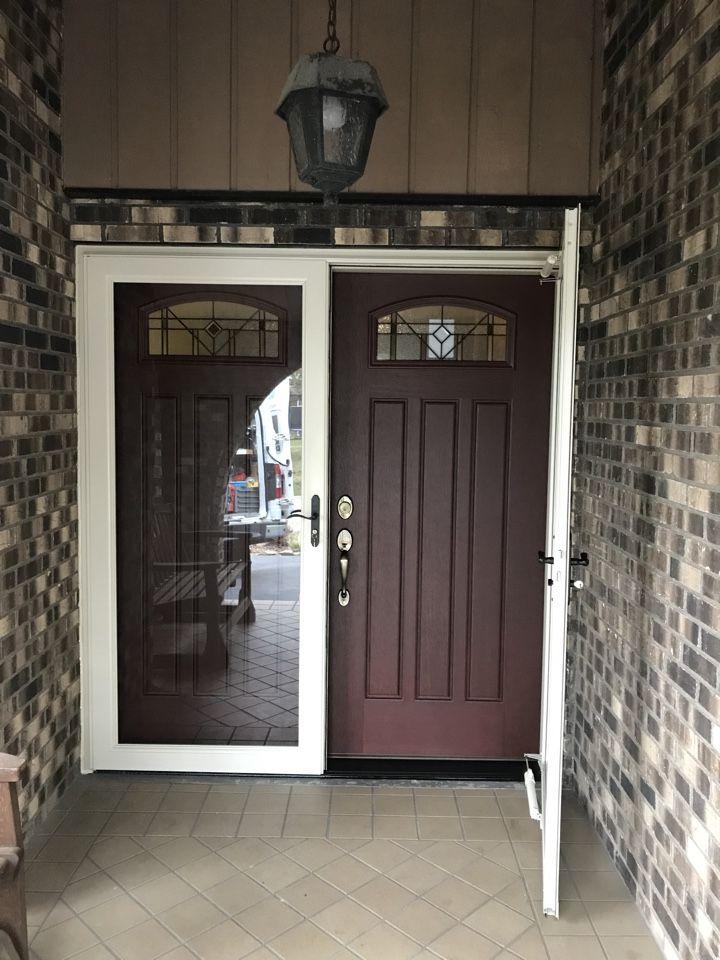 This Entry Door Is An Installation In Homer Glen Featured Is The Albany Double Door With Lars Double Front Entry Doors Exterior House Doors Door Installation