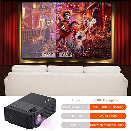 CUBOT Video Projector, 2500 Lumens Portable Mini Cinema