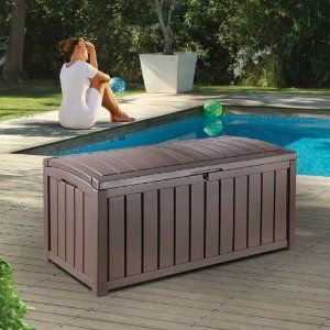 Keter Deck Box, 101-Gallon by Keter. $99.00. Easily goes together in less than an hour. Will not rust, dent or peel. Wood Look Box. 101 Gallon capacity. Includes floor panel. The Glenwood resin deck box has a stylish wood-look design. There's plenty of room for what you need to put away: garden furniture cushions, pool and sports equipment, and lawn & garden items. The Glenwood is practically maintenance free: it does not rust, dent or peel. It will not warp or need to be pa...