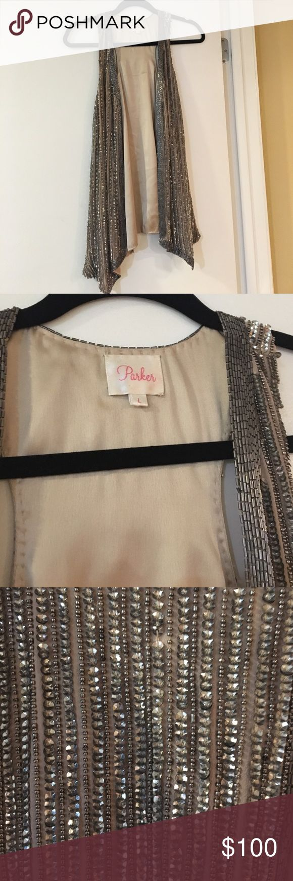 Parker NY Sequin Vest This Parker NY vest can be worn either open or closed. There are hooks inside that allow you to close the vest completely to wear it as a top! Parker Jackets & Coats Vests