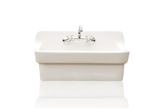 White Vintage Style High Back Farm Sink Original Porcelain Finish