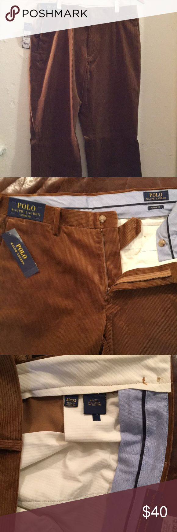 🍍 Polo Ralph Lauren Mens Corduroy Pants 🍍 Great pair of pants!! These are a rusty brown color that would go great with a checkered button down and a khaki coat on top! Brand new with tags still on them!  Size is 33/32!! Polo by Ralph Lauren Pants Corduroy