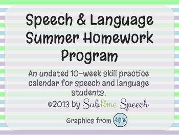 Speech and Language Therapy Summer Homework Program