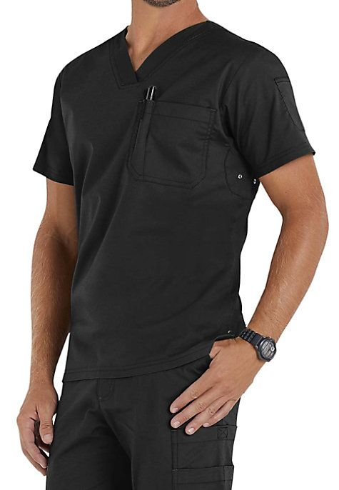 RIVETING & SLEEK TOP Talk about classic good looks … The Jack men's scrub top from Beyond Scrubs sports a V-neck—and a few pleasant surprises! Storage is stylish and plentiful, including a chest pocket (with pen slot), a handy sleeve pocket and badge loop providing lots of space for medical accessories. Underarm gussets with reinforcing grommets keep you dry and cool! Beyond Scrubs Men's Jack V-neck Scrub Tops V-neck One chest pocket with pen slot and a sleeve pocket ...