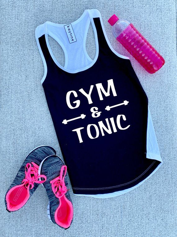 5d7d25c802 gym and tonic shirt • funny workout shirt • workout tank top for women •  drinking gym shirt • shirt for working out • racerback tank top