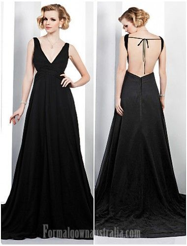 64e9606a94648  blackformaldress Australia Formal Evening Dress Black Plus Sizes Dresses  Petite A-line V-neck Court Train Chiffon Formal Dress Australia   ...