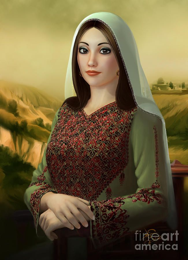 Mona By Imad Abu Shtayyah Woman Painting Portrait Palestine Art