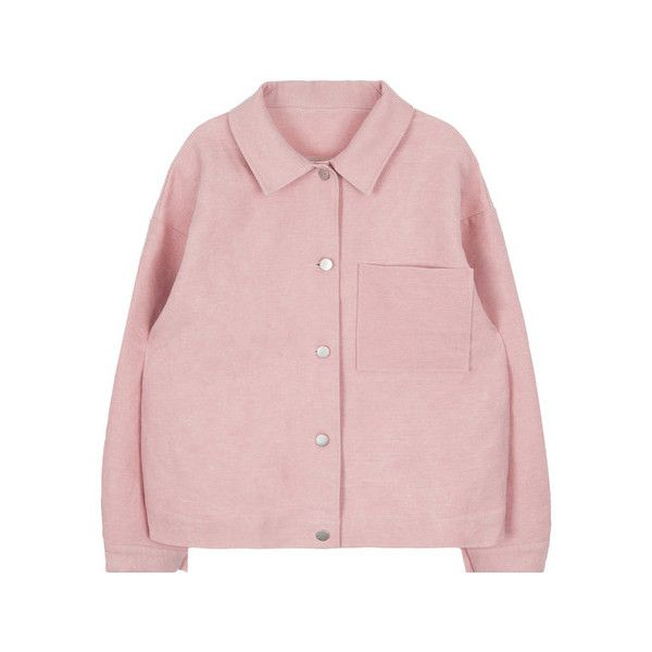 Solid Color Button-Down Jacket (255 GTQ) ❤ liked on Polyvore featuring outerwear, jackets, travel jacket, button up jacket, long sleeve jacket, genuine leather jacket and lightweight jackets