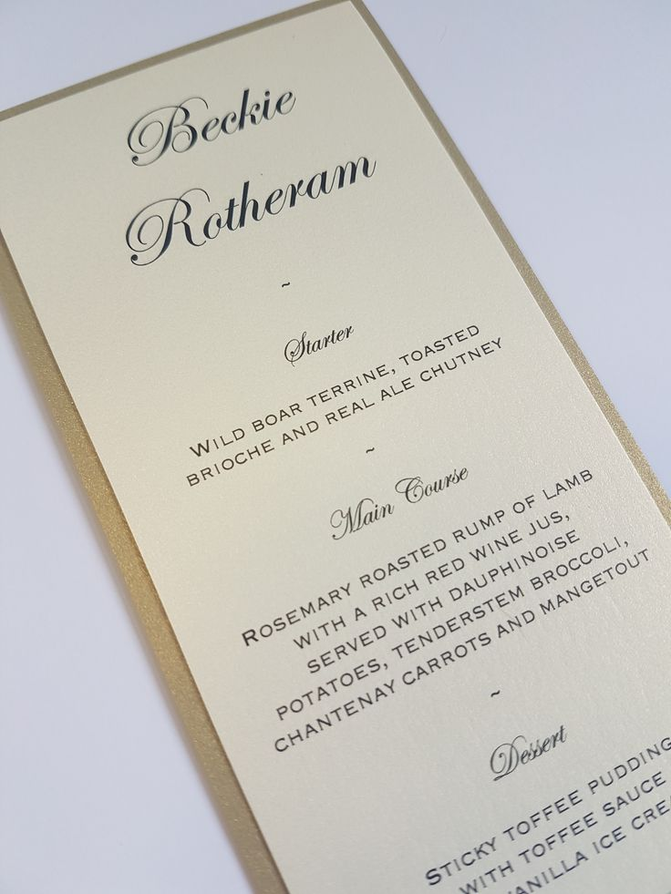 custom wedding invitations nashville%0A Contemporary Gold and Ivory personalised wedding guest menus  UK Wedding  stationery and inspiration